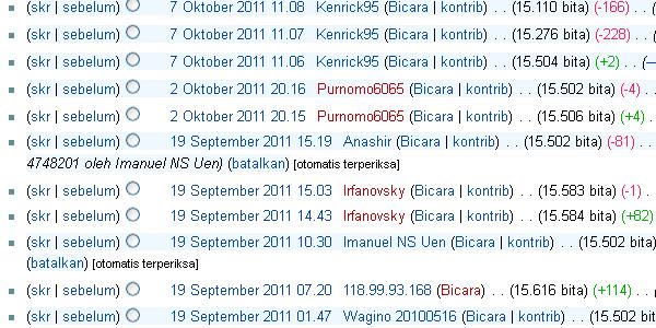 Tampilan riwayat revisi artikel Wikipedia