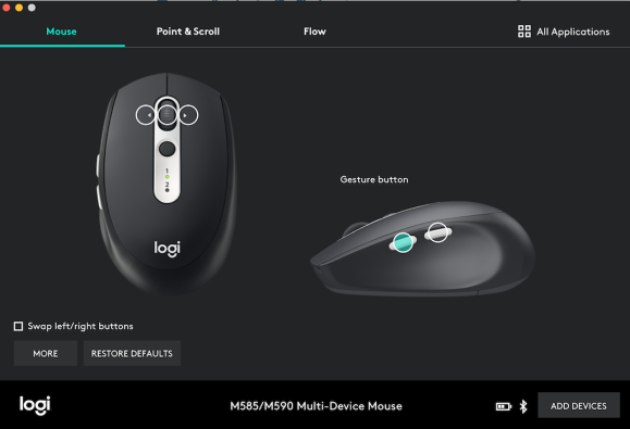 logitech options button assignment