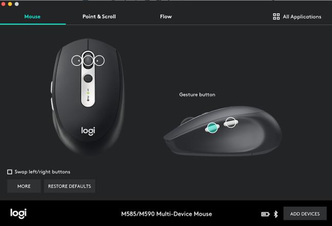logitech options button assignment